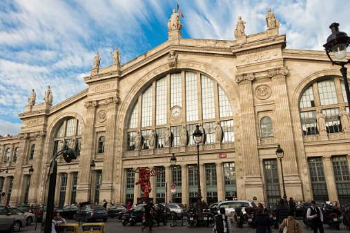 Paris, France-December 06, 2015: The Gare du Nord is one of the six large terminus stations of the SNCF mainline network for Paris.Located not far from Gare de l'Est in the 10th arrondissement of Paris, it voffers connections with several urban transportations lines including paris Metro, RER and buses.